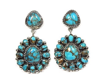 Genuine Turquoise & 925 Sterling Silver Southwestern Jewelry Stud, Post Dangle Earrings. Free Shipping in USA