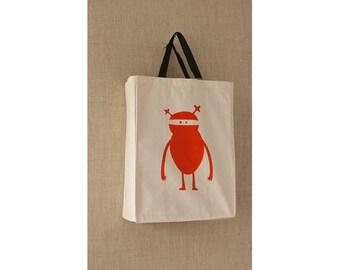 Canvas Bag, Orange Ninja Monster Reusable Grocery Bag, Eco Friendly Bag, Reusable Bag