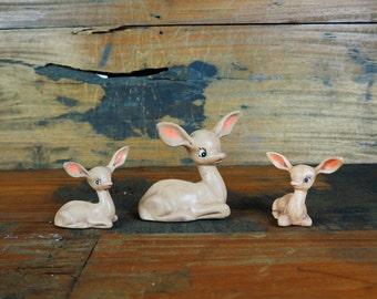 Vintage Ceramic Deer Mom and Babys figurine set form the 1950's