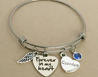 Grandpa Memorial Bracelet, Forever in my Heart Bracelet, Memorial Charm Bangle, Remembrance Jewelry, In Memory, Sympathy Gift, MB013