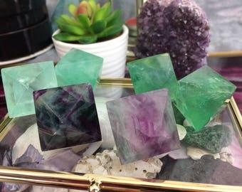 Fluorite Octahedron - Polished - Purple & Green
