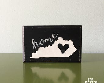 Kentucky Decor - Kentucky Home - Wood Block - Kentucky Derby Decoration - Kentucky Sign - Rustic Kentucky - Kentucky Art - KY State Shape