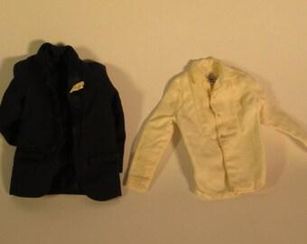 Vintage Ken doll tuxedo jacket & shirt #787