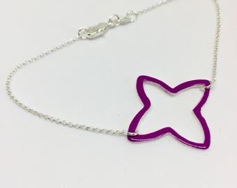 Purple enamel bracelet, double sided, colourful jewelry, cross bracelet, fine silver bracelet, gift for mother, gift for bridesmaid, summery