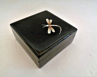 Dragonfly Chinese Lacquered Box, Vintage Asian Box, Lacquered Box, Vintage Asian Lacquered Box, Dragonfly Jewelry Box, Keepsake Box
