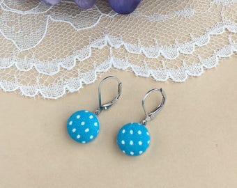 Bright Aqua Polka Dot Fabric Lever Back Earrings, Polka Dot Earrings, Fabric Earrings, Lever Back Earrings, Button Earrings, Simple Earrings