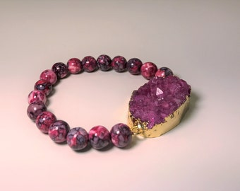 Gorgeous Chunky Magenta Agate Druzy Electroformed Geode Stretch Bracelet with Natural Magenta Rhodochrosite Gemstone Beads~ Perfect Gift!