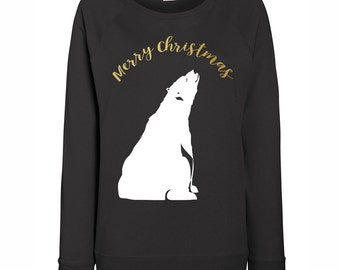 Womens Merry Christmas Polar Bear Christmas Jumper / Sweatshirt