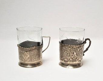 2 coffee cups with silvery support, vintage, French coffee