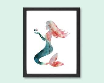 Mermaid Wall Art mermaid wall art | etsy