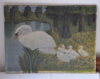 French Antique Swan and Baby Swans Oil Painting, French Antiques, Signed Painting, Nature Water Duck, Vintage Bird Paintings, Made in France