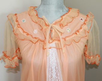 Vintage Chiffon Nightgown - Orange Chiffon and Lace Dressing Gown - Vintage Nightie - Old Fashion Nightgown - Free Shipping in Canada and US