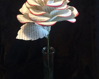 Book page rose with painted tip, long stem rose, anniversary flower, single rose wih red tip, handmade by papers bloom