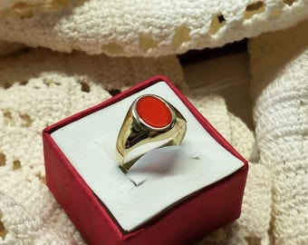 Ring 333 gold carnelian simply classy vintage GR282