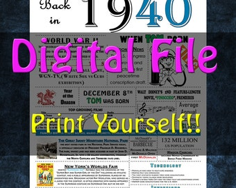 1940 Personalized Birthday Poster, 1940 History - DIGITAL FILE!!