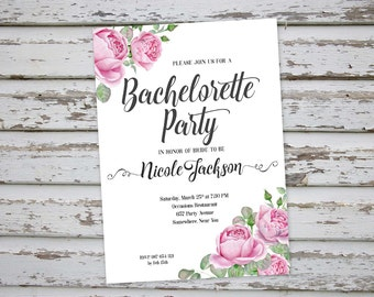 Bachelorette Invitation, Floral Bachelorette Party Invitation, Roses Bachelorette Invite, Hen Party Invitation, Hens Do Invitation DIY