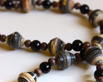 Paper & Wood Bead Necklace