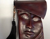 "Leather Purse ""Pursona"" Face Bag ""Second"", by Einbender Studios in chocolate"