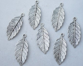 6 Pcs Leaf Charms Leaf Pendants Antique Silver Tone 12x32mm - YD0662