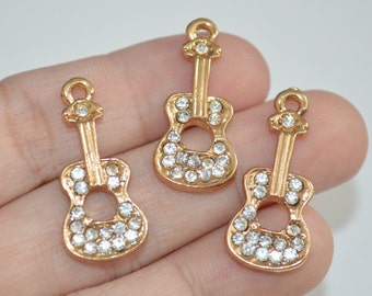 2 Pcs Violin with Rhinestone Gold Plated Charms 13x28mm - C88