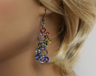 Stepping stones earrings, Rainbow, Chainmaille