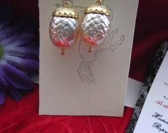 E-0505 - Gold and White Enameled White Acorn Earrings