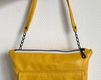 Yellow soft leather clutch bag, shoulder bag, crossbody bag with chain
