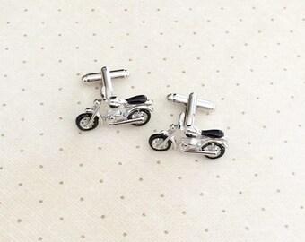Motorcycle Cufflinks Cuff Links in Silver