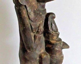 Vintage Heavy Plaster Egyptian Isis & Horus Pharaoh Statue Goddess God Figure Hawk Falcon Faux Stone Carving