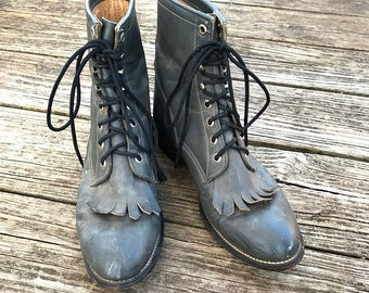 Vintage Charcoal Gray Justin Lace Up Boots | 5 D | 6 | 6.5 |