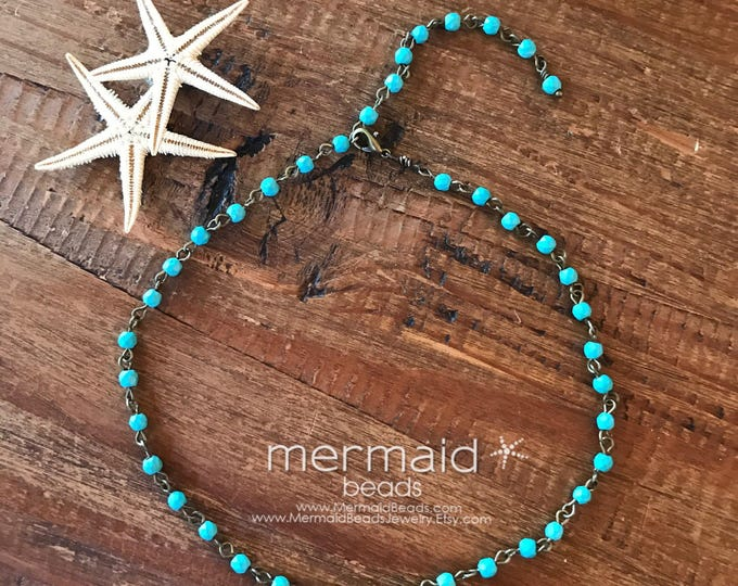 Boho Jewelry Choker Turquoise Choker Necklace Beaded Bridal Pearl Chain Choker Beach Weddings Tiger Eye Festival Bridesmaids necklaces Gifts