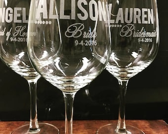 Bachelorette Party Glasses - 6 Wine Glasses - Bridesmaids Toast - Rehearsal Dinner - Toasting Glasses - Etched Wine Glass - Be My Bridesmaid