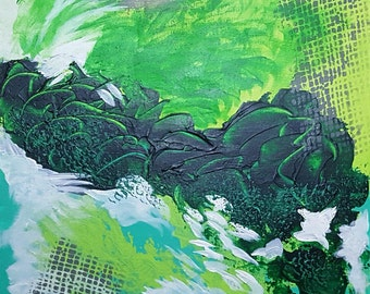 "Green & turquoise original small wall art Contemporary decor Modern fine art Apartment wall art ""Bumpy Crossing"" 12x12"" canvas"
