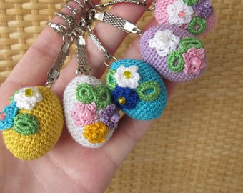 Creative unique handmade gifts ideas for all ages by krugershop easter eggs keychain crochet wooden eggs easter basket charm easter gift coworker easter gift girlfriend organic negle Images