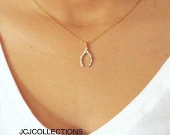 SALE... Wishbone Necklace, CZ Diamond Pendant, 14k Gold Filled Chain