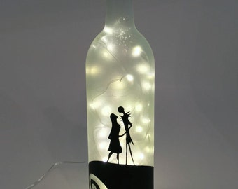 Nightmare Before Christmas Wine Bottle Lamp / Jack and Sally /  Gift Ideas