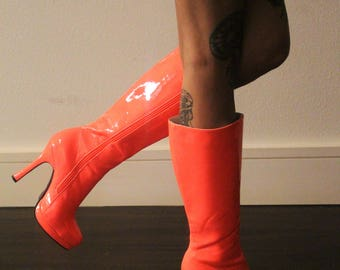 coral pink pleaser heeled boots size 7