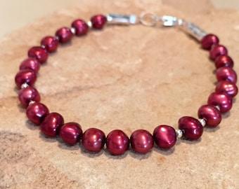 Red bracelet, holiday bracelet, pearl bracelet, sterling silver bracelet, sundance style bracelet, gift for her, gift for wife