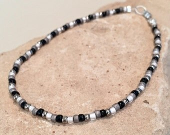 Black and gray Toho seed bead ankle bracelet, Hill Tribe silver anklet, body jewelry, small anklet, dainty anklet, gifr for her