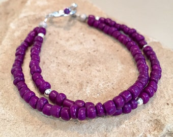 Purple seed bead double or single strand bracelet, boho bracelet, sterling silver bracelet, sparkle silver beads, gift for her