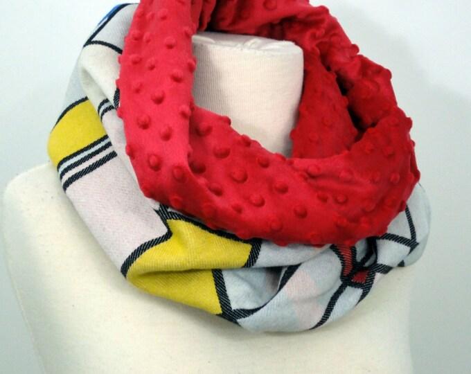 Wrap conversion winter cowl / neck warmer -- Soft minky - Natibaby Mondriaan