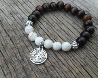 Tree of Life Howlite Gemstone & Wood Bead Bracelet - Intuition, Awareness, Clarity, Balance, Meditation, Yoga