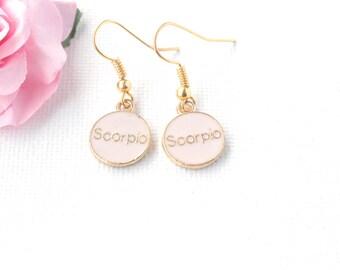 Scorpio earrings,Scorpio jewellery,Scorpio birthday, Scorpio gift, zodiac earrings, constellation earrings, gold earrings,gold drop earrings