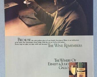 """1980 Ernest & Julio Ballo Sauvignon Blanc Print Ad - """"Because...The Wine Remebers"""""""