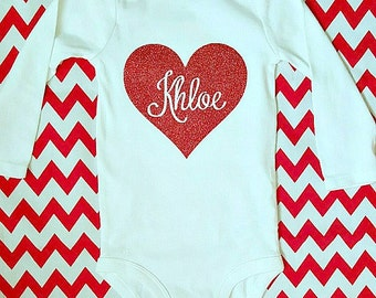 Personalized custom Valentine heart name onesie bodysuit red glitter baby girl babies first valentines day