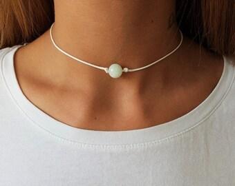 Light Blue Jadeite, Jadeite Choker, Gemstone Choker, Choker Necklace, Bridesmaid Gift, Gift For Bridesmaids, Bridesmaid Necklace, Boho Choke