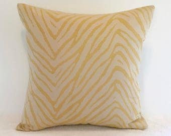 Designer Pillow - Zebra Print Accent Pillow - Decorative Pillow - Pillow Cover - Yellow Throw Pillow