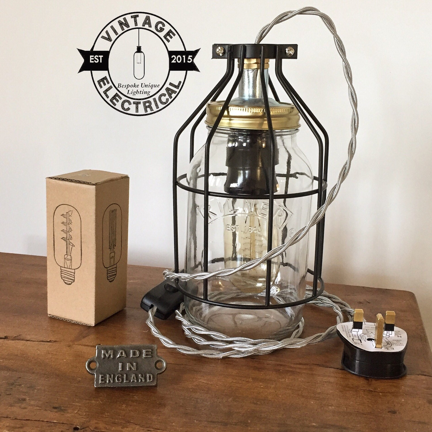 Edison Bulb Chandelier Mason Jar Lighting Mason By: Kilner Mason Cage Jar Table Light Industrial Vintage Edison