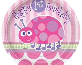 1st Birthday Girl ''Ladybug'' Dessert Paper Plates 8ct