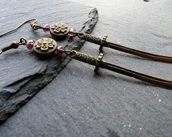 Samurai Swords Earrings with Sakura ~ Katana Earrings, Japanese Swords, Sword earrings, Japanese jewelry, Tribal Earrings, Tribal Jewelry